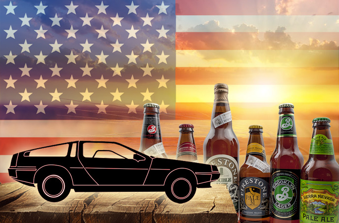 "Quelle: Fotolia - #7890724 - ""delorean"" - jmblog / Quelle: Fotolia, Mykola Mazuryk, ""golden sunset over field with barley"", 40756645 / Fotolia - 45812442 - ""US, USA Flag"" - musaffarpatel /Bier.de"